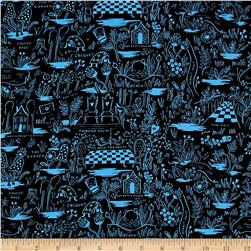 Cotton + Steel Rifle Paper Co. Wonderland Rayon Challis Magic Forest Blue