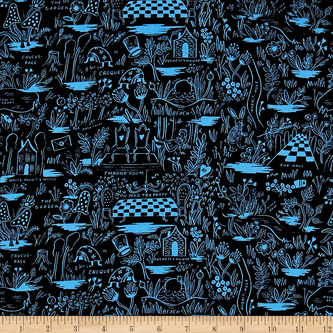 Image of Cotton + Steel Rifle Paper Co. Wonderland Rayon Challis Magic Forest Blue Fabric