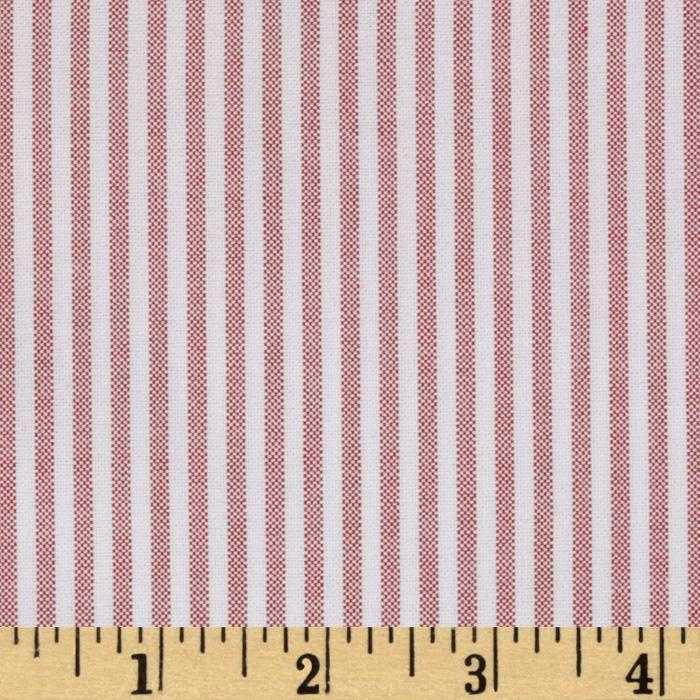 Kaufman Oxford Shirting Yarn Dyed Large Stripe Red