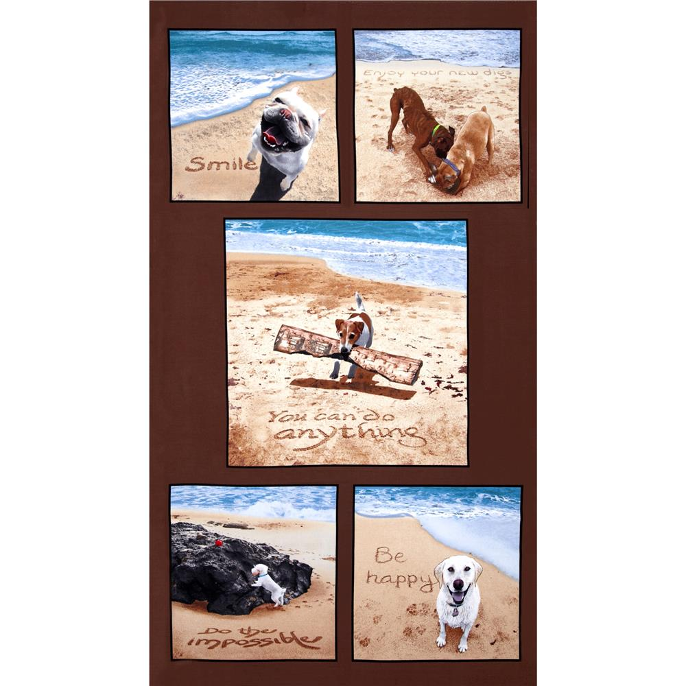 "Sand Scribbles 24"" Panel Brown"