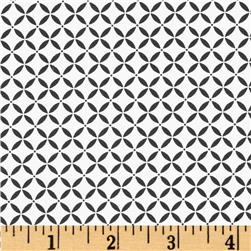 Black Magic Stretch Poplin Geometric White/Black Fabric