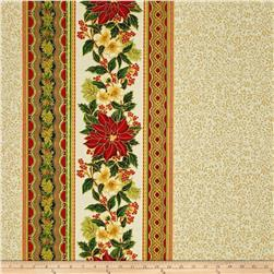 Kaufman Holiday Flourish Metallic Wide Double Border Holiday