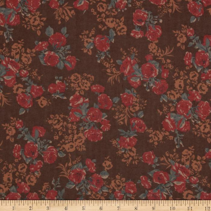 Maribel Voile Floral Brown/Gold/Soft Red