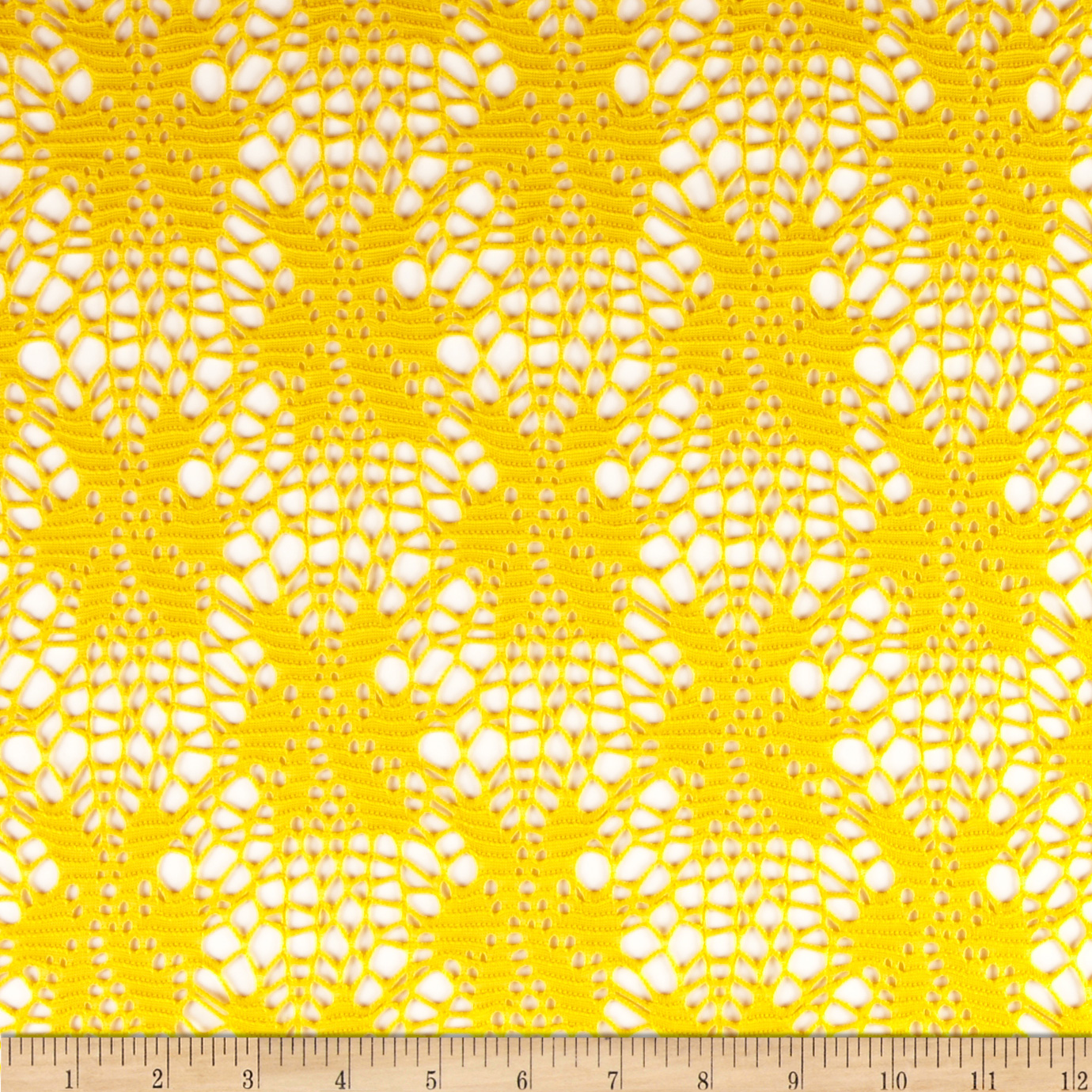 Floral Crochet Lace Yellow Fabric
