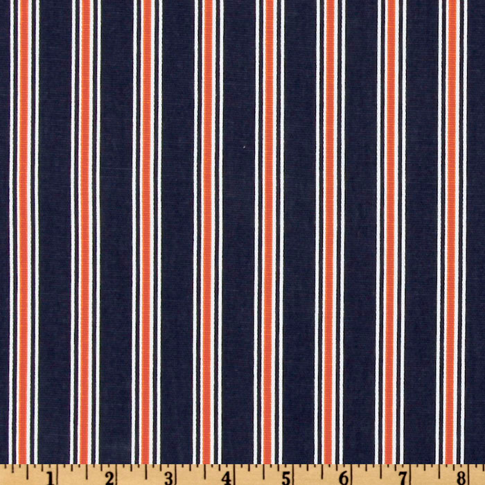 Premier Prints Trey Stripe Navy/Orange Fabric