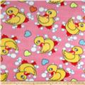 Fleece Print Ducks & Bubbles Fuchsia