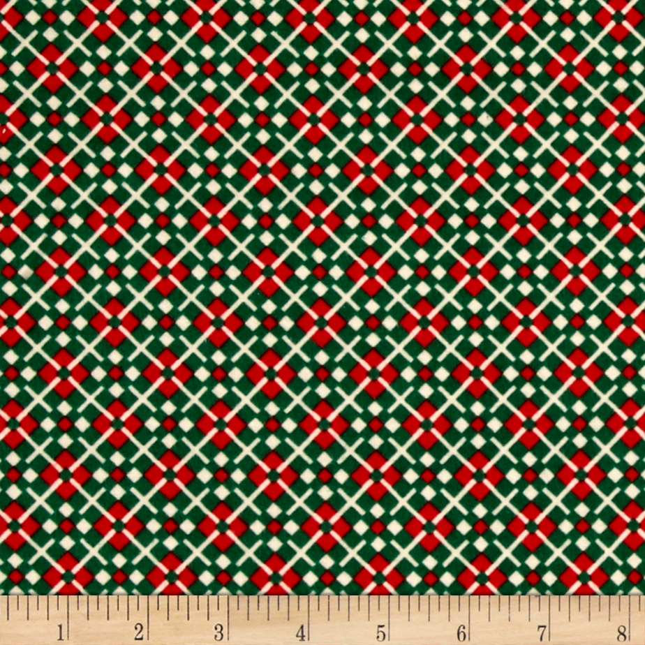 Cozies Flannel Christmas Large Check Green Fabric by Marcus in USA