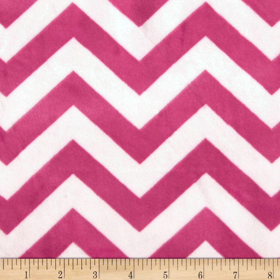 Minky 3/4'' Chevron Hot Pink/Light Pink Fabric