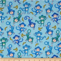 Flannel Tossed Monkies Blue