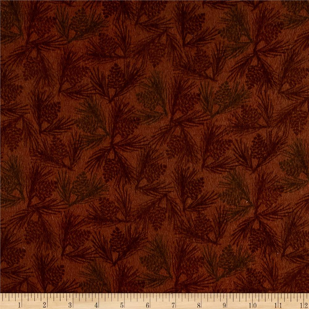 Wilderness Flannel Pine Cones Light Brown