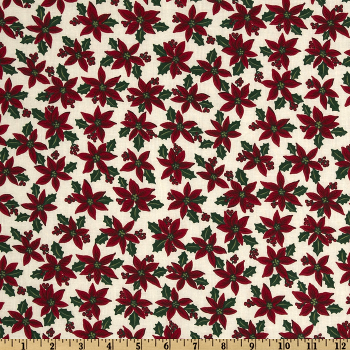 Ho Ho Ho Poinsettias Ivory Fabric