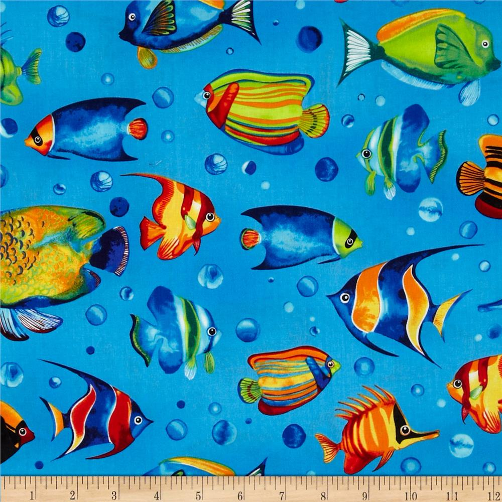 Tropical reef large fish marine discount designer fabric for Fish fabric for quilting