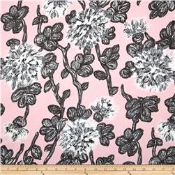 Bloom Stretch Cotton Sateen Blooms Grey/Pink
