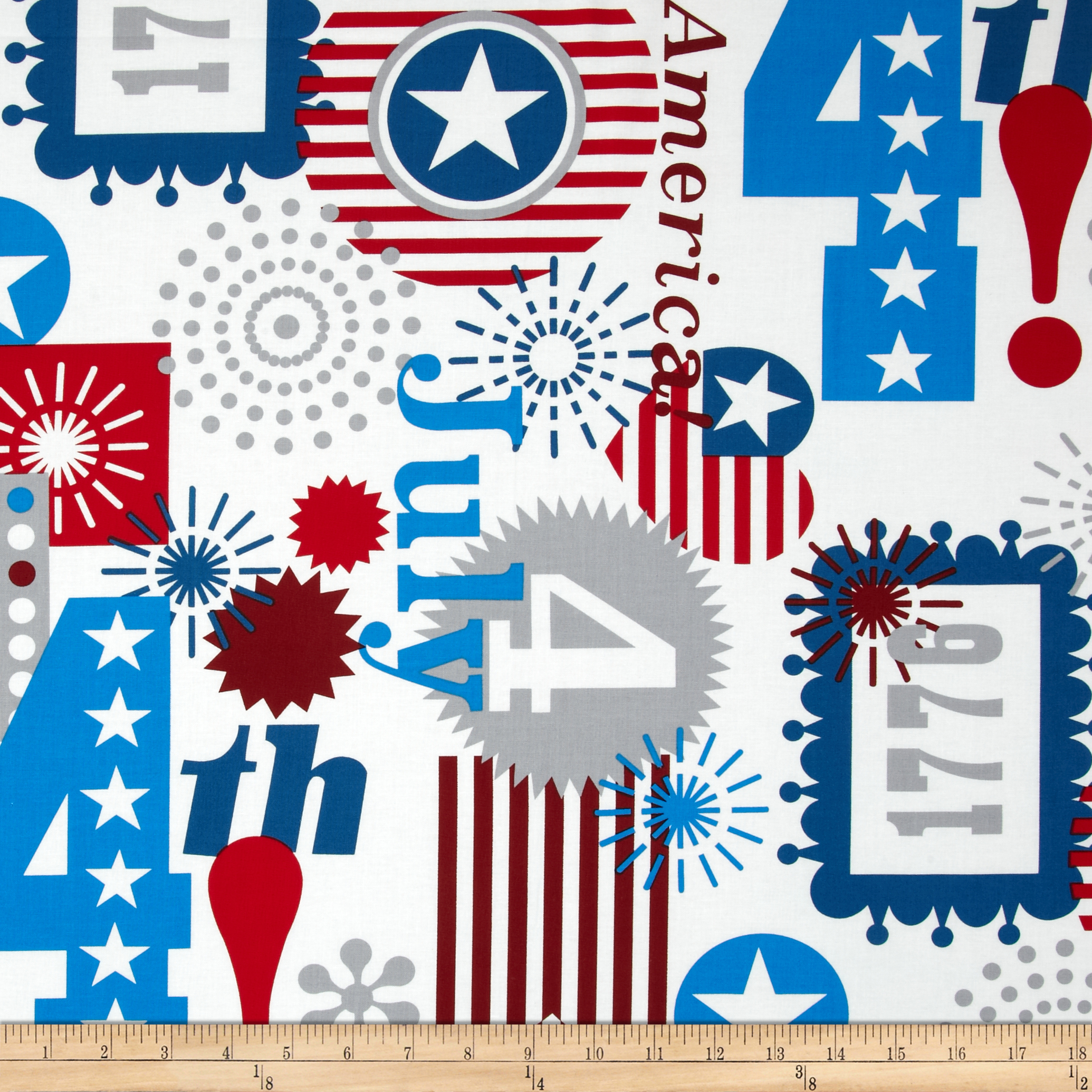 Alexander Henry Love Luck and Liberty Happy Birthday USA Natural Fabric by Alexander Henry in USA