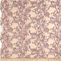 Heavyweight Embroidered Mesh Lace Mauve