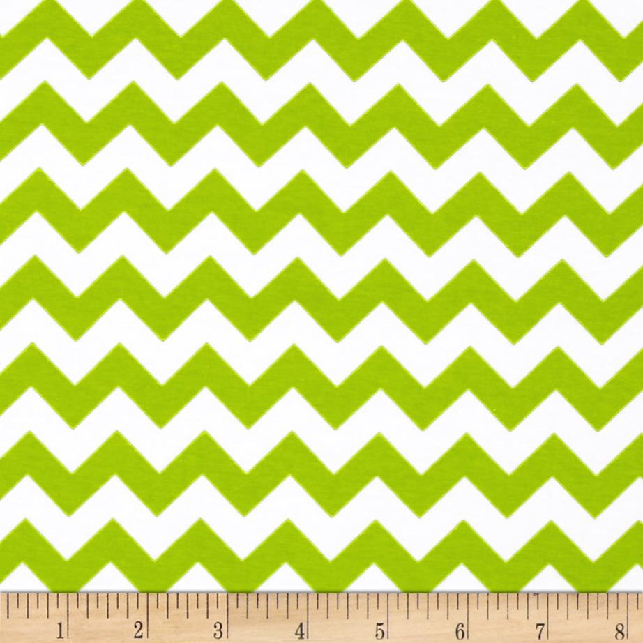 Riley Blake Cotton Jersey Knit Chevron Small Lime Green