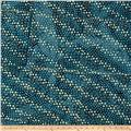 Indian Batik Hollow Ridge Floral  Blue/Natural