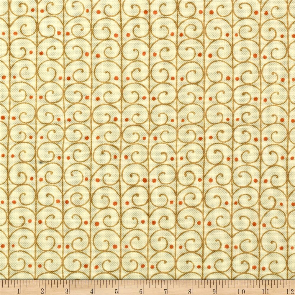 Moda Forest Fancy Scrolly Trellis Cream