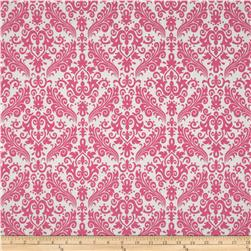 Riley Blake Medium Damask White/Hot Pink Fabric