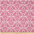 Riley Blake Medium Damask White/Hot Pink