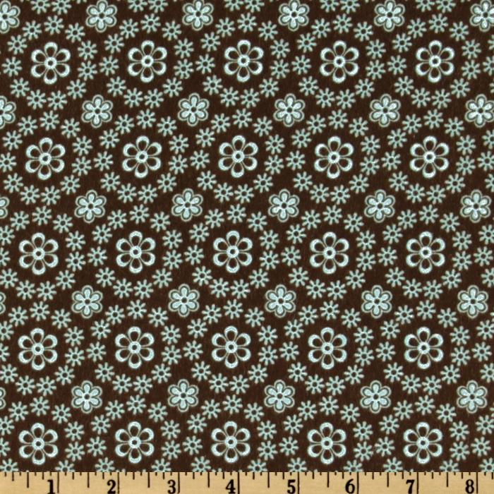 Cozy Cotton Flannel Daisies Allover Chocolate