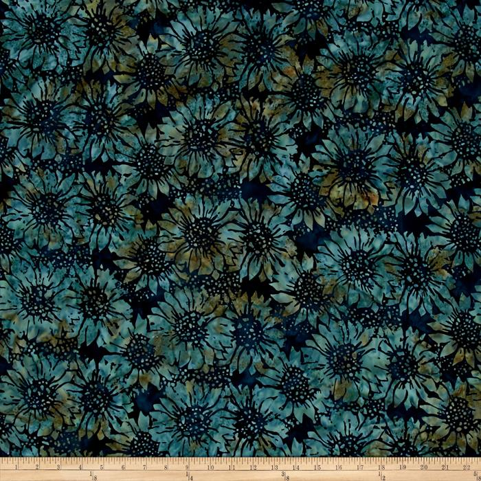 Island Batik Sunflowers Blue/Tan