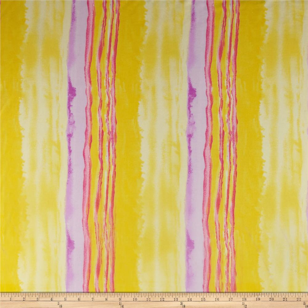 Stretch Sheer Jersey Knit Stripe Yellow/Purple