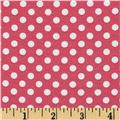 Riley Blake Cotton Jersey Knit Small Dots Hot Pink