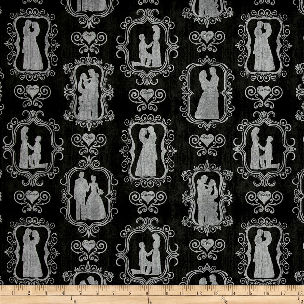 I Do Bride & Groom Silhouettes Black