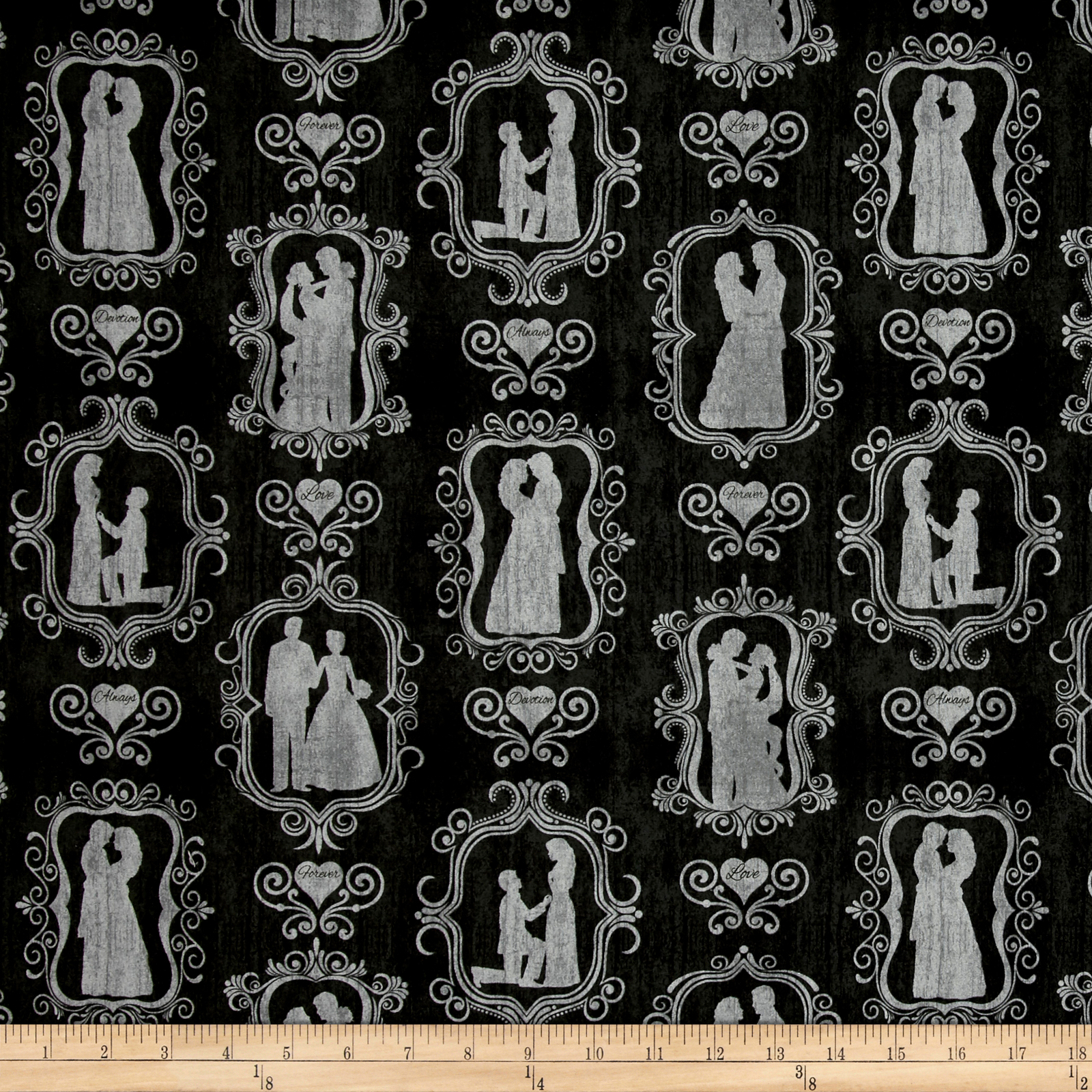 I Do Bride & Groom Silhouettes Black Fabric by Quilting Treasures in USA