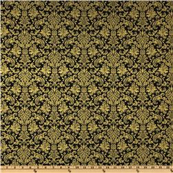 Home For The Holidays Metallic Damask Black
