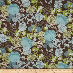 Zinnia Blue Large Floral Brown