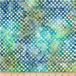 Michael Miller Batiks Marine Clown Check Mineral Blue