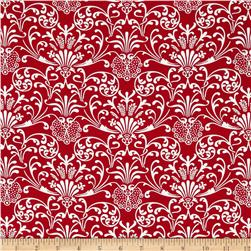 Red Damask Red/White Fabric