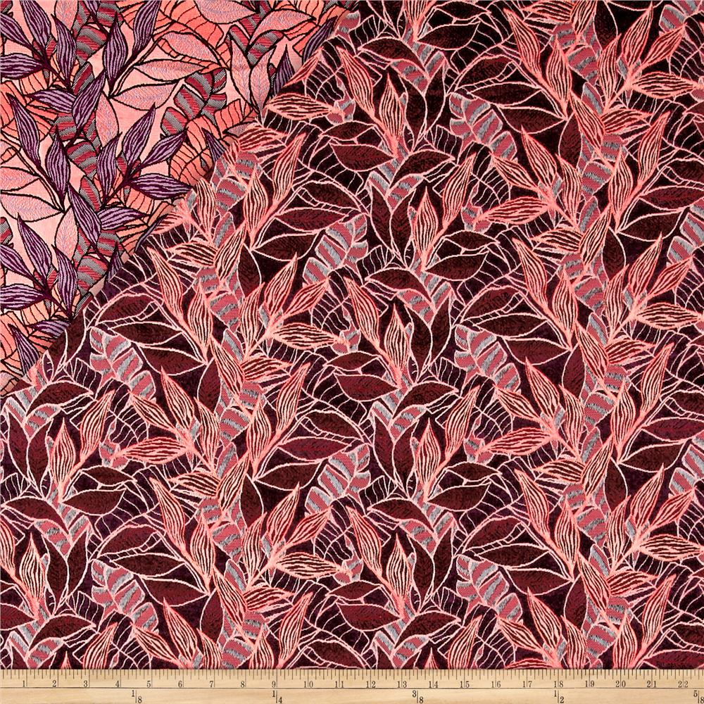 French Tropical Leaf Reversible Jacquard Neon Coral/Violet Fabric