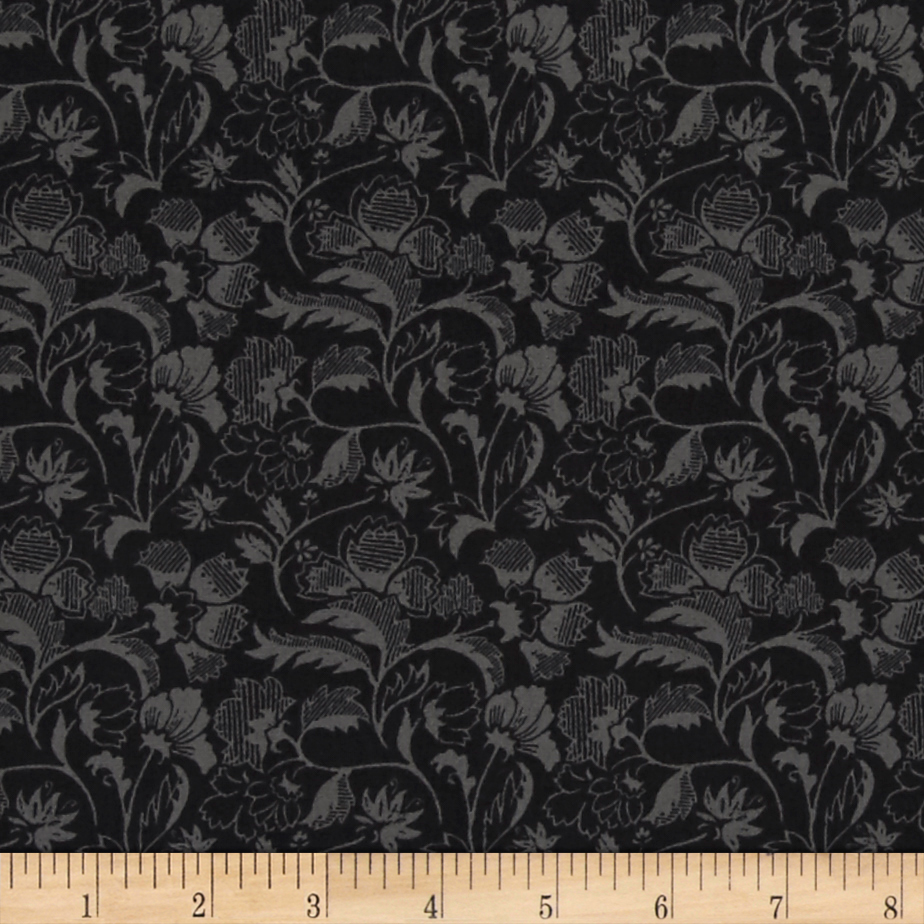 City Style Floral Scroll Charcoal Fabric by David in USA