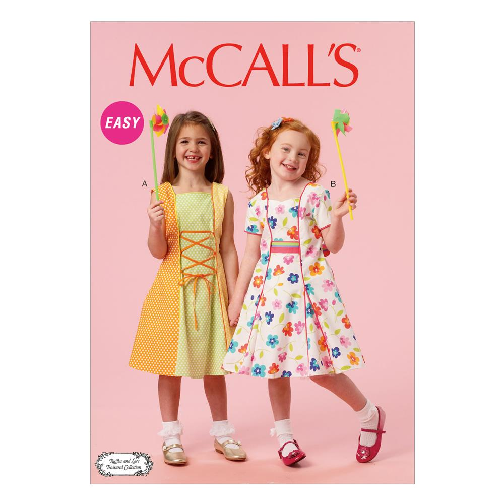 Mccall 39 s children 39 s girls 39 lined dresses and sash pattern for Childrens dress fabric
