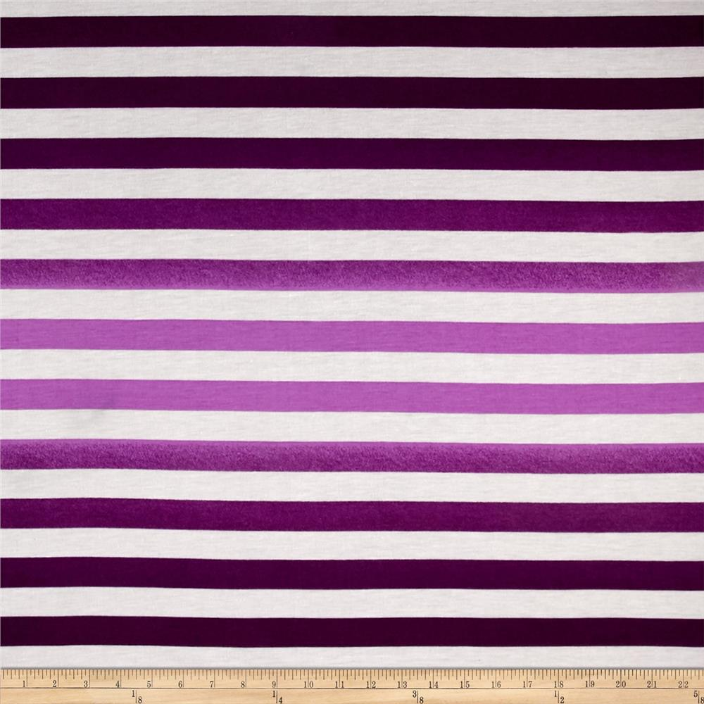 Ombre Jersey Knit Stripe Purple Fabric By The Yard