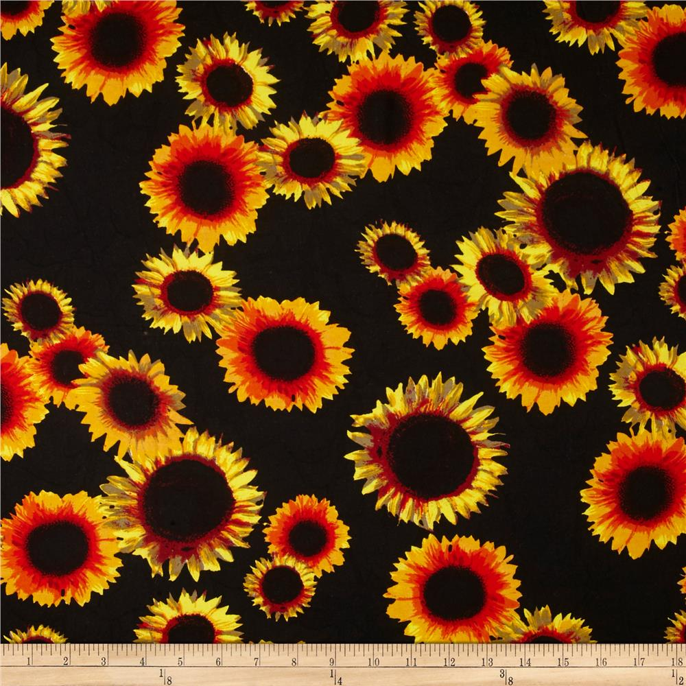 Rayon Challis Dreamer Sunflower on Black