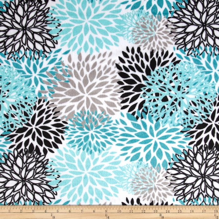 Premier Prints Mockingbird Minky Cuddle Blooms Teal