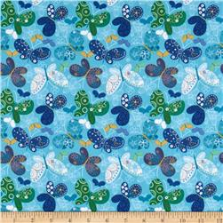 Catalina Flannel Butterflies Blue