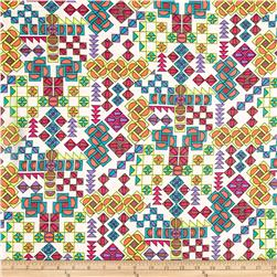 Viscose Rayon Challis Rainbow Square Multi