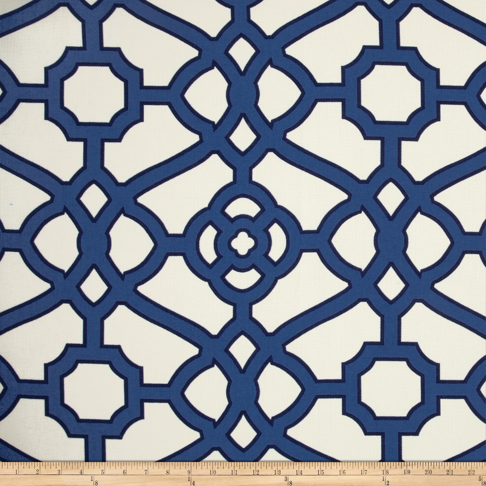 P Kaufmann Indoor/Outdoor Pavilion Fretwork Navy Fabric