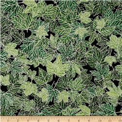Woodsy Winter Metallic Leaves Evergreen/Silver Fabric