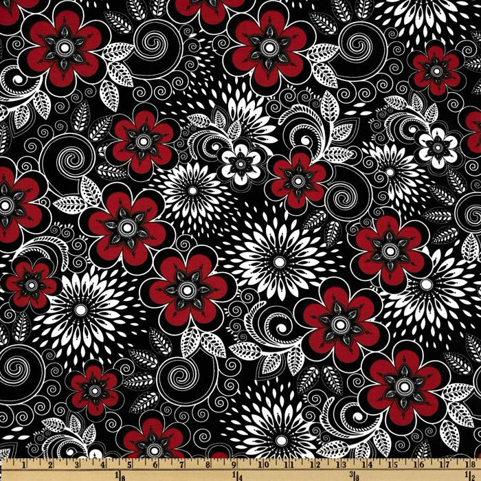 Mod Designs Large Floral Black/White/Red