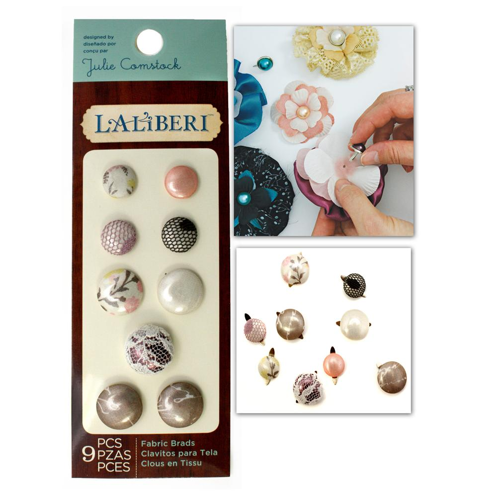 Laliberi Fabric Button Brads Assorted Light