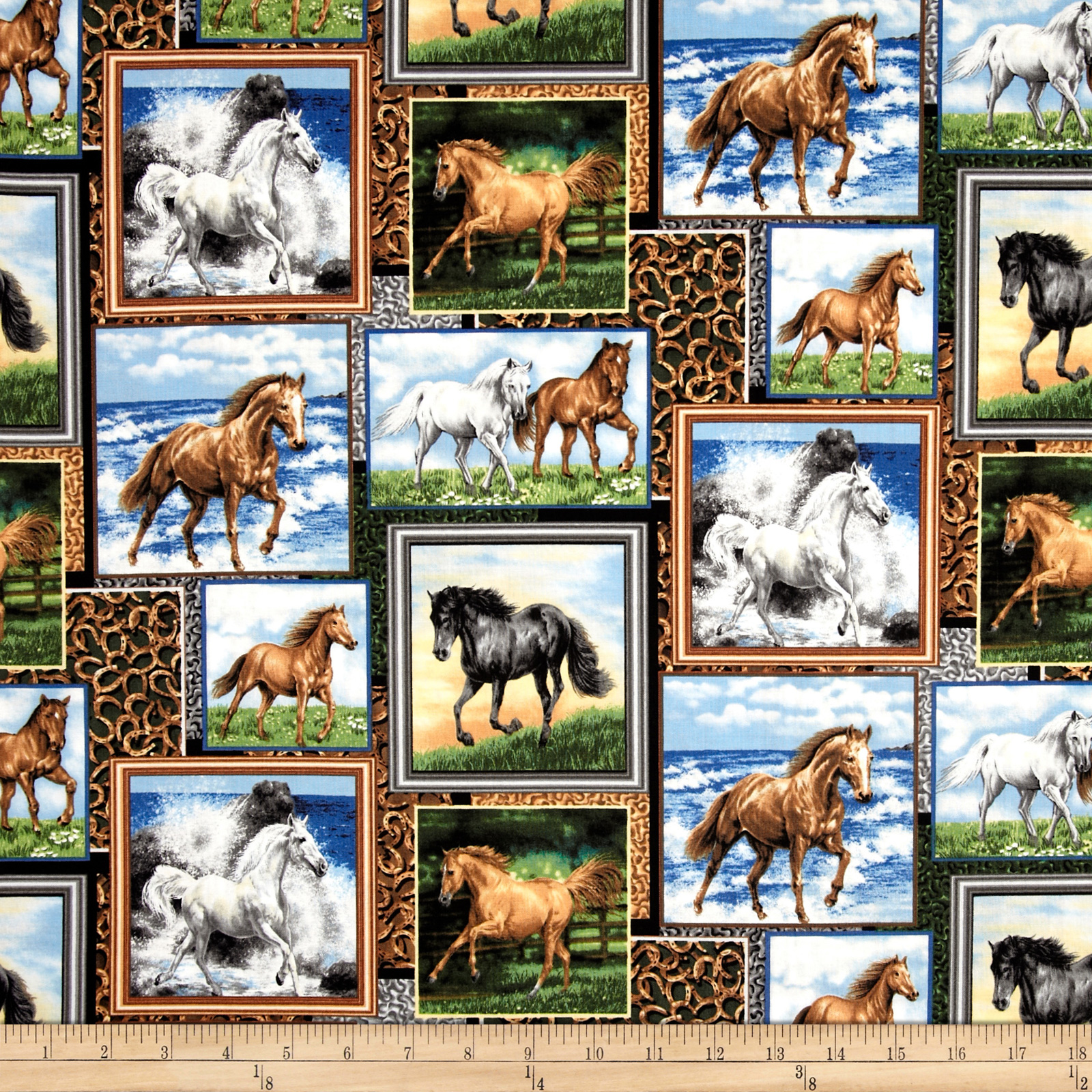 Running Wild Horse Patch Multi Fabric