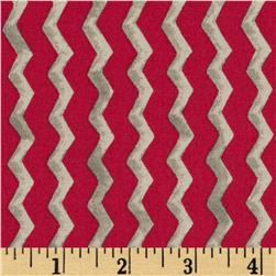 Monster Truck Mania Chevron Red Fabric
