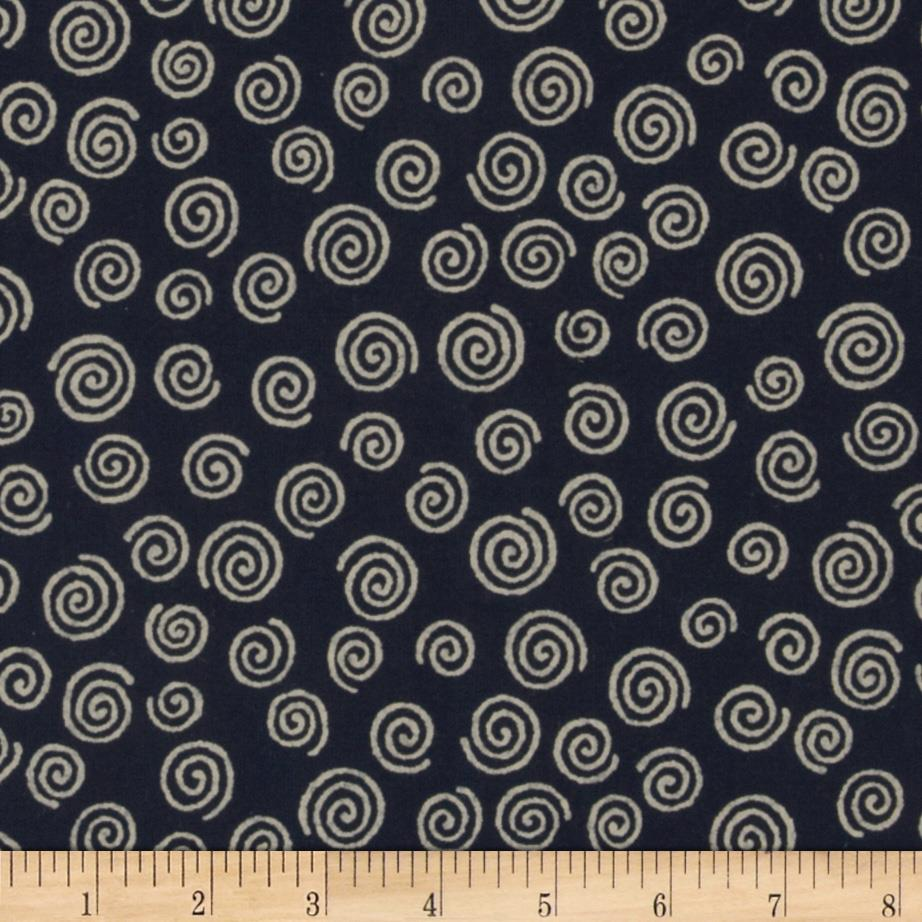 "110"" Wide Quilt Backing Swirl Navy"
