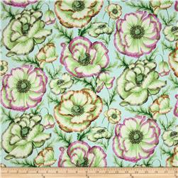 Kaffe Fassett Collective Banded Poppy Mint Fabric